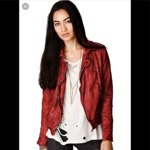 Muubaa Distressed RED leather jacket. Size 2